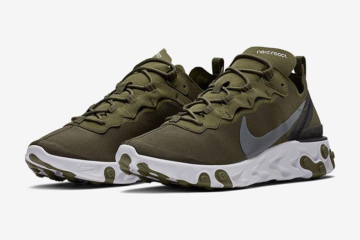 Nike React Element 55 Olive Green/ Tan